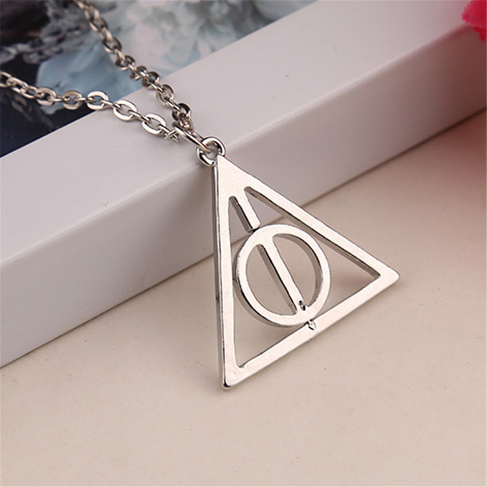 Pendant Necklace Harry Potter Woman Gold Triangle Relics of death Book