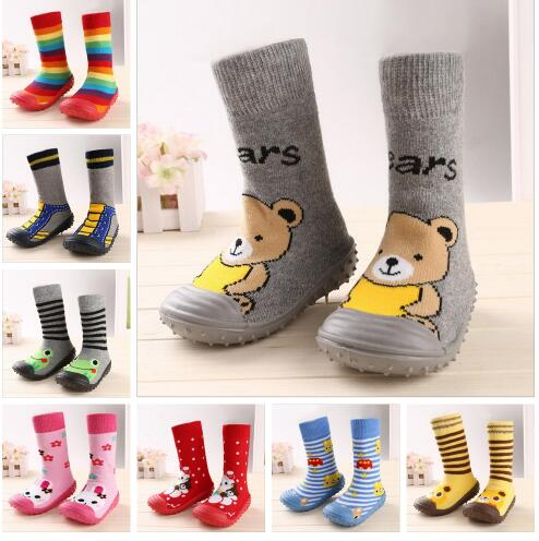 Newborn Baby Boy Girl Socks Anti Slip Soft Rubber Soled Outdoor Shoes Crib Infant Children Animal Cartoon Shoes Slippers Boots