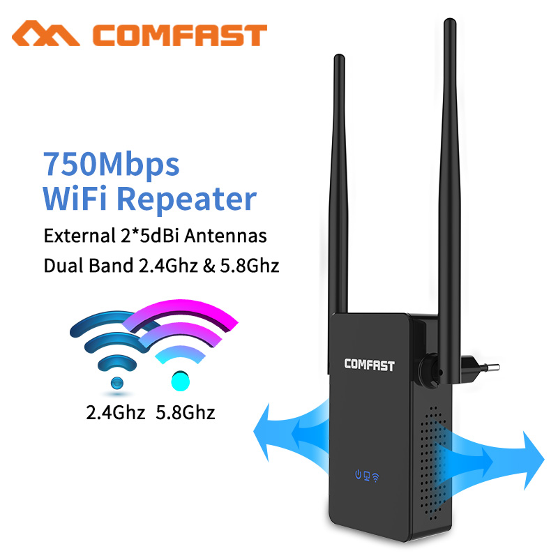 Comfast 750Mbps Wireless Wifi Extender/Repeater/Router Dual Band Wifi Range Extender Signal Amplifier 2*5dbi External Antennas