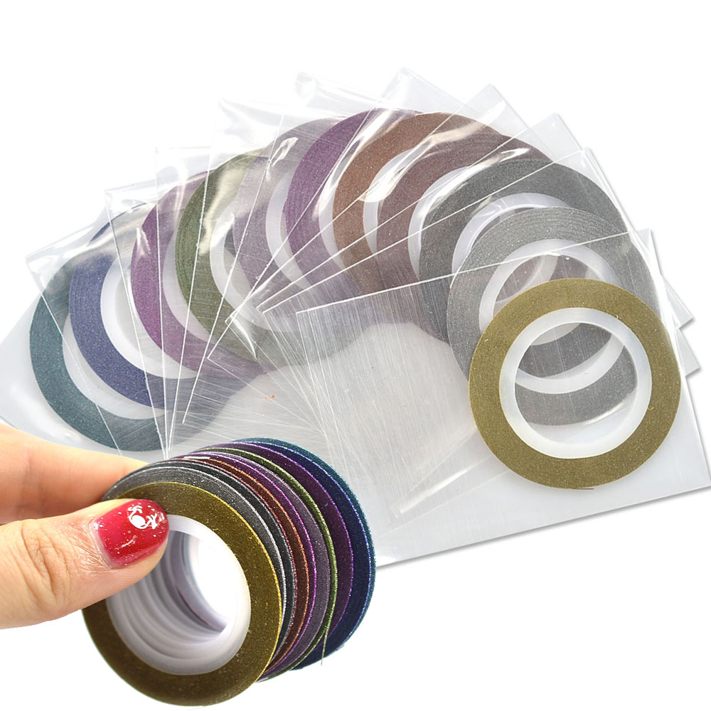 12Colors/lot 1mm Glitter Nail Striping Tape Line For Nails Decor DIY Nail Art Self-Adhesive Decal Beauty Accessories SANC392 14 rolls glitter scrub nail art striping tape line sticker tips diy mixed colors self adhesive decal tools manicure 1mm 2mm 3mm
