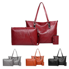 3 шт., кожаные сумки с верхней ручкой, Женская Ручная сумка, набор, красная сумочка для женщин, сумка через плечо, женские сумки, клатч, кошелек