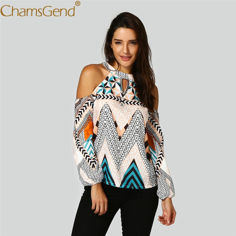 Free Shipping Women Features Bohemia Print Off Shoulder Halter Long Sleeve   Blouse     Shirt   80521 Drop Shipping
