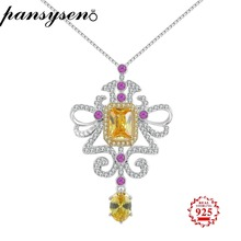 PANSYSEN Genuine 925 Silver Womens Fashion Necklaces Pendant Top Quality Gemstone Fine Jewelry Party Wedding Gift For Female