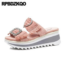 Pumps Luxury Women Rhinestone Diamond Shoes Platform Wedge Sandals Summer  Slides Slippers Rope Crystal Pink High Heels Fringe 008096cb7e1c