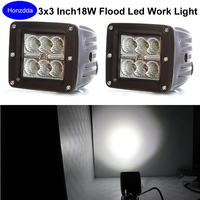 Pair Of 3x3 Inch Led Work Light 18w Flood Beam Cube Pods Lamp Offroad Truck Boat