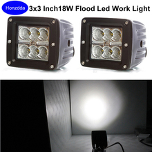 Pair of 3×3 Inch Led Work Light 18w Flood Beam Cube Pod Lamp for Offroad Truck Boat atv jk F150 Tacoma Bumper 12V Led Fog Light