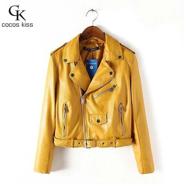 2016 Mujer fashion Women Leather Jacket And The Wind Zipper Bright New Ladies Leather Coat Jacket Women