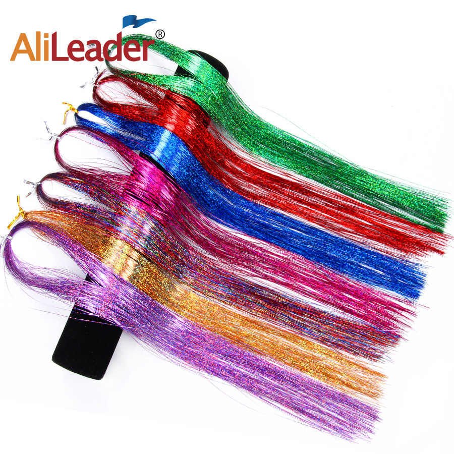 Alileader Hair 1 Packs 16inch Sparkly Synthetic Clip in One Piece Hair Tinsel Strip Gold Green Pink Color For Girls And Party