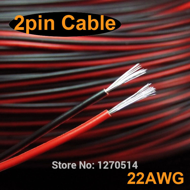 Tinned copper 22AWG 2 pin Red Black cable PVC insulated wire 22 awg stranded wire Electric