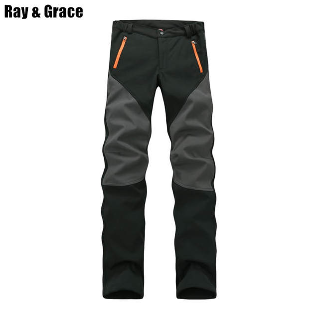 03811abbe021 Online Shop RAY GRACE Camping Hiking Pants Winter Men Outdoor Sport Trousers  Waterproof Fleece Fishing Pants Trekking Mountain Climbing