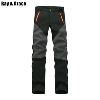 RAY GRACE Camping spodnie do wędrówek pieszych zimowe męskie spodnie sportowe na świeżym powietrzu wodoodporne polarowe spodnie wędkarskie Trekking wspinaczka górska tanie i dobre opinie Poliester spandex Mikrofibra Zipper fly Gore tex JY1466 Pasuje prawda na wymiar weź swój normalny rozmiar Pełnej długości