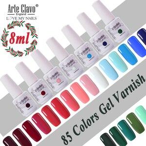 Arte Clavo Nail Polish Set For Manicure 8ml Color Gellak Semi Permanent Glitter Nails Art UV Hybrid Nail Gel Varnish Top Base(China)
