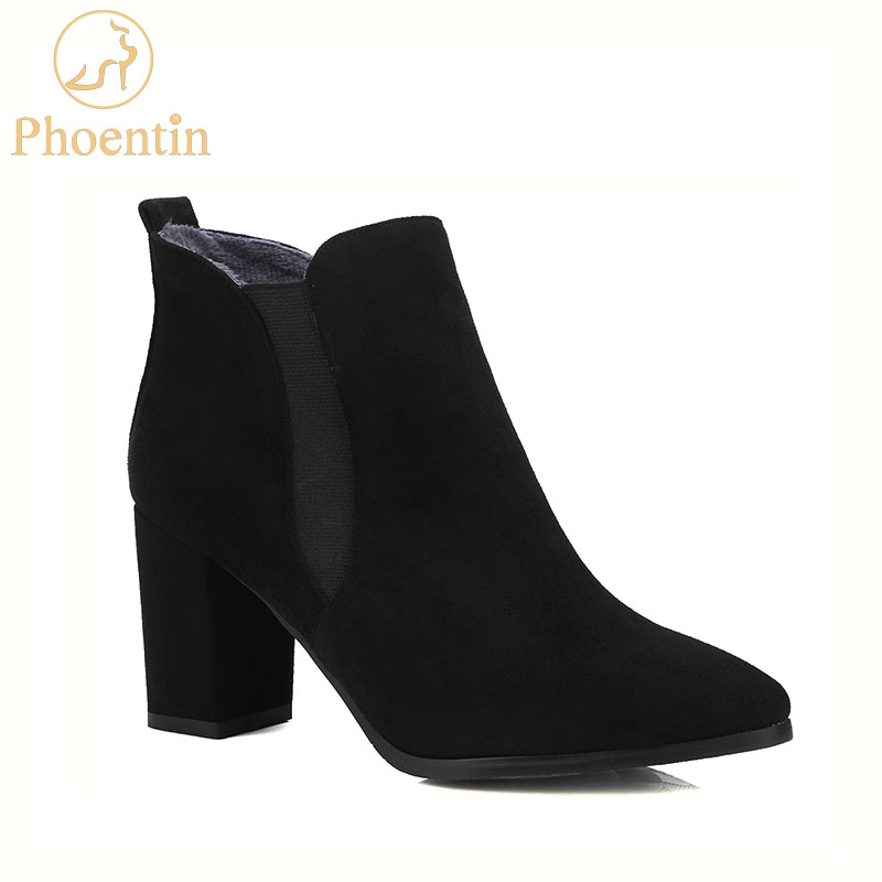 Black Chelsea Boots Women 2018 Stretch Fabric Ankle Booty Chunky Heels Brown Solid -9843