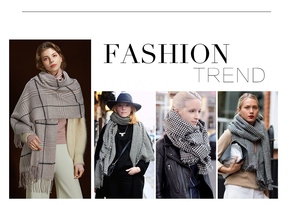 2019 New Winter Autumn Wool Knitted Women Scarf Plaid Warm Cashmere Scarves Shawls Luxury Brand Neck Lady Wrap High Quality (3)