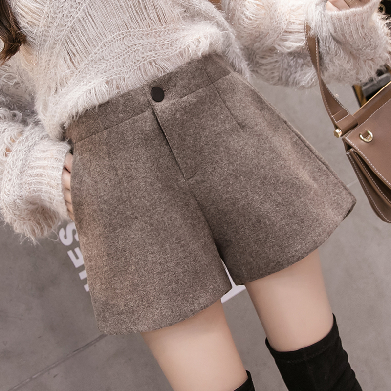 2019 Autumn Winter Woolen Shorts Womens Casual Elastic Waist Wool Shorts Female Solid Color Boots Shorts