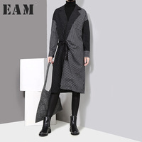 EAM 2018 New Spring Lapel Long Sleeve Solid Color Striped Split Joint Loose Big Size