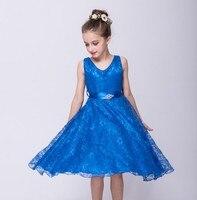 פרח שמלת ילדה 2016 בגדי בגדי ילדי מותג בגדי ילדי פעוט בנות שרוול פחות בציר האופנה מסיבת חתונת 3 5 7 9Y