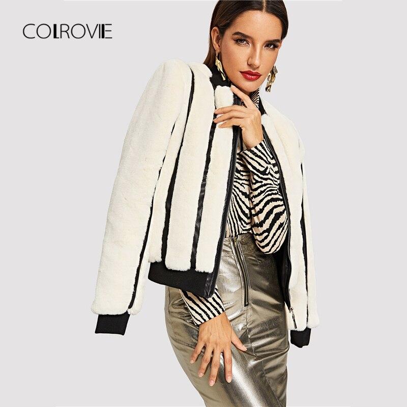 COLROVIE White Striped Zipper Winter Faux Fur Jacket Coat Women 2018 Autumn Preppy Streetwear Office Ladies