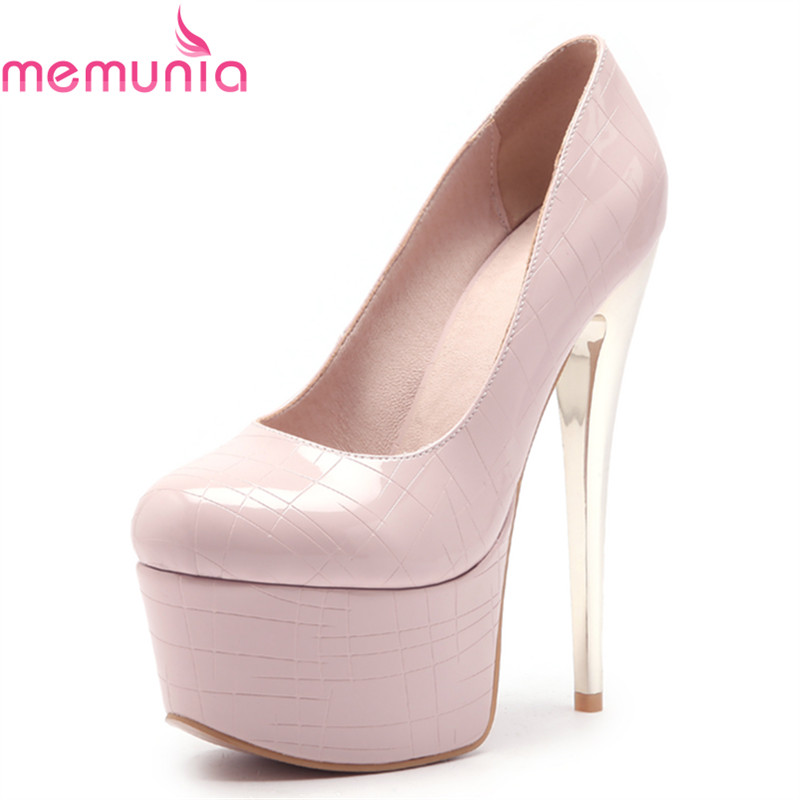 MEMUNIA large size 34-46 new fashion sexy platform pumps women shoes stiletto high heels round toe solid wedding shoes 2016 new wedges platform shoes with comfort women bowtie buckle casual shoes sweet solid pumps round toe large size shoes