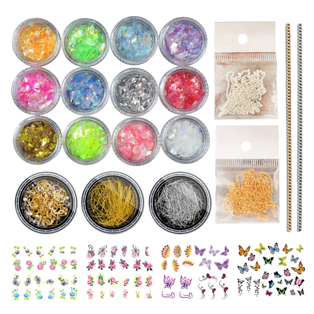 Bittb 12 Colors Nail Glitter Nail Art Design 3D Nail Rhinestones Gold Chian Silver DIY Set Stud Gems Manicure Kits Nail Stickers gold silver 3d nail decorations rivets metal multi studs rhinestone chain flower heart diy manicure nail art decoration