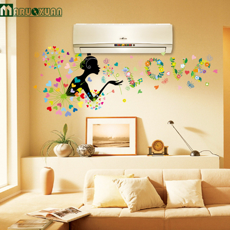 Maruoxuan Dandelion Girl Flowers Wall Stickers Decorations Living ...