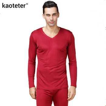 100% Pure Silk Men\'s Long Johns Male V Neck Warm Body Suits Men Underwear Sets Antibacterial Thermal Man Autumn Suits - DISCOUNT ITEM  20 OFF Underwear & Sleepwears