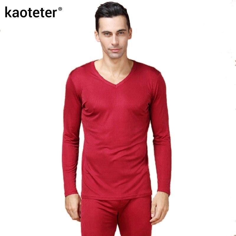 100% de seda pura para hombre Calzoncillos largos cuello en V para hombre conjuntos de ropa interior para hombres trajes térmicos antibacterianos de otoño para hombre