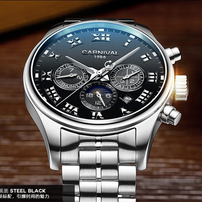 Карнавал Бизнес автоматические механические часы Для мужчин s лучший бренд класса люкс Для мужчин часы Полный Сталь Водонепроницаемый Нару...