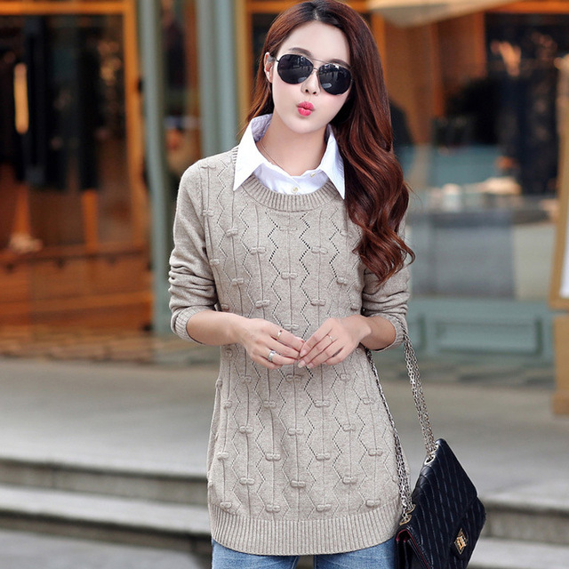 2016 Fall Winter Women's Lapel Pullovers Knitted Shirt Large Size ...