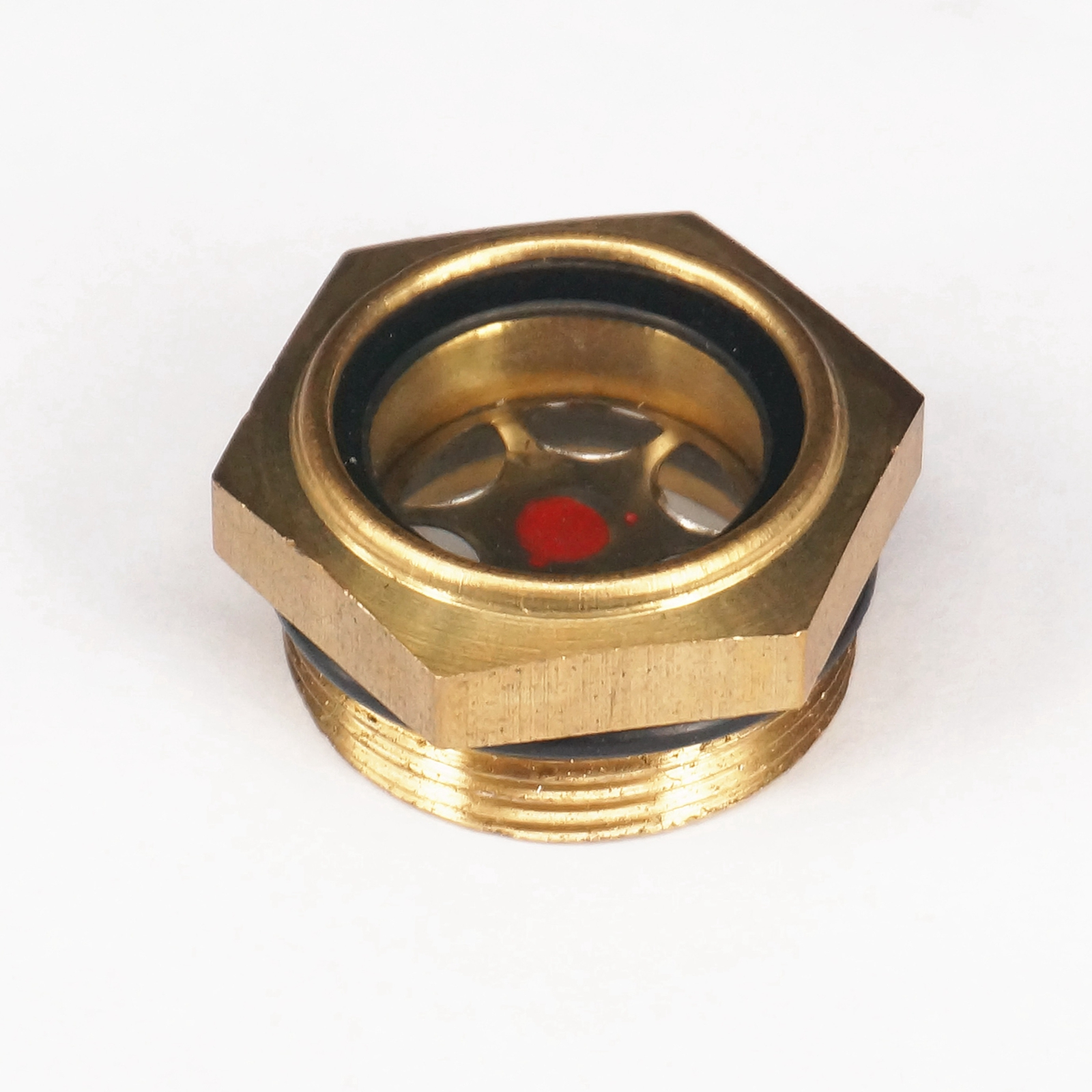 M30x1.5mm Metric Male Brass Oil Level Sight Glass Window Hex Head For Air Compressor Gearbox