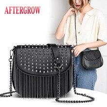 Fashion Summer Women Shoulder Bag Black Leather Punk Style Rivet Metal Tassel Chain Messenger Bags Female Handbag Sac de selle