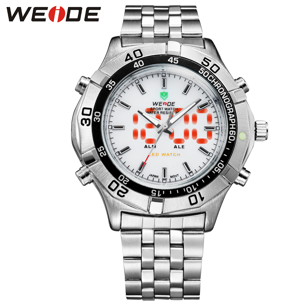 WEIDE LED watch stainless steel date water resistant quartz watches relogio sport analog Electronic men watches digital clock weide clock men digital double display watch srainless steel bracelets quartz sport 3amt waterproof electronic wrist led watches