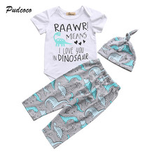 Pudcoco Newborn Baby Boy Girl Clothes Short Sleeve Letter Print Romper Tops Pant Hat Dinosaur Clothing