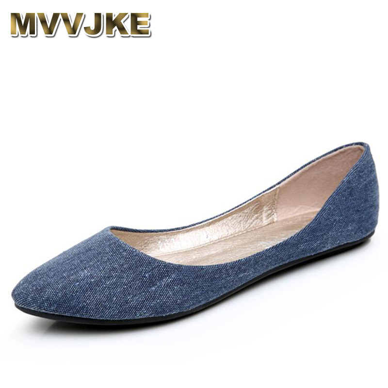 MVVJKE New Women Soft Denim Flats Blue Fashion High Quality Basic Pointy Toe Ballerina Ballet Flat Slip On Office Shoes(China)