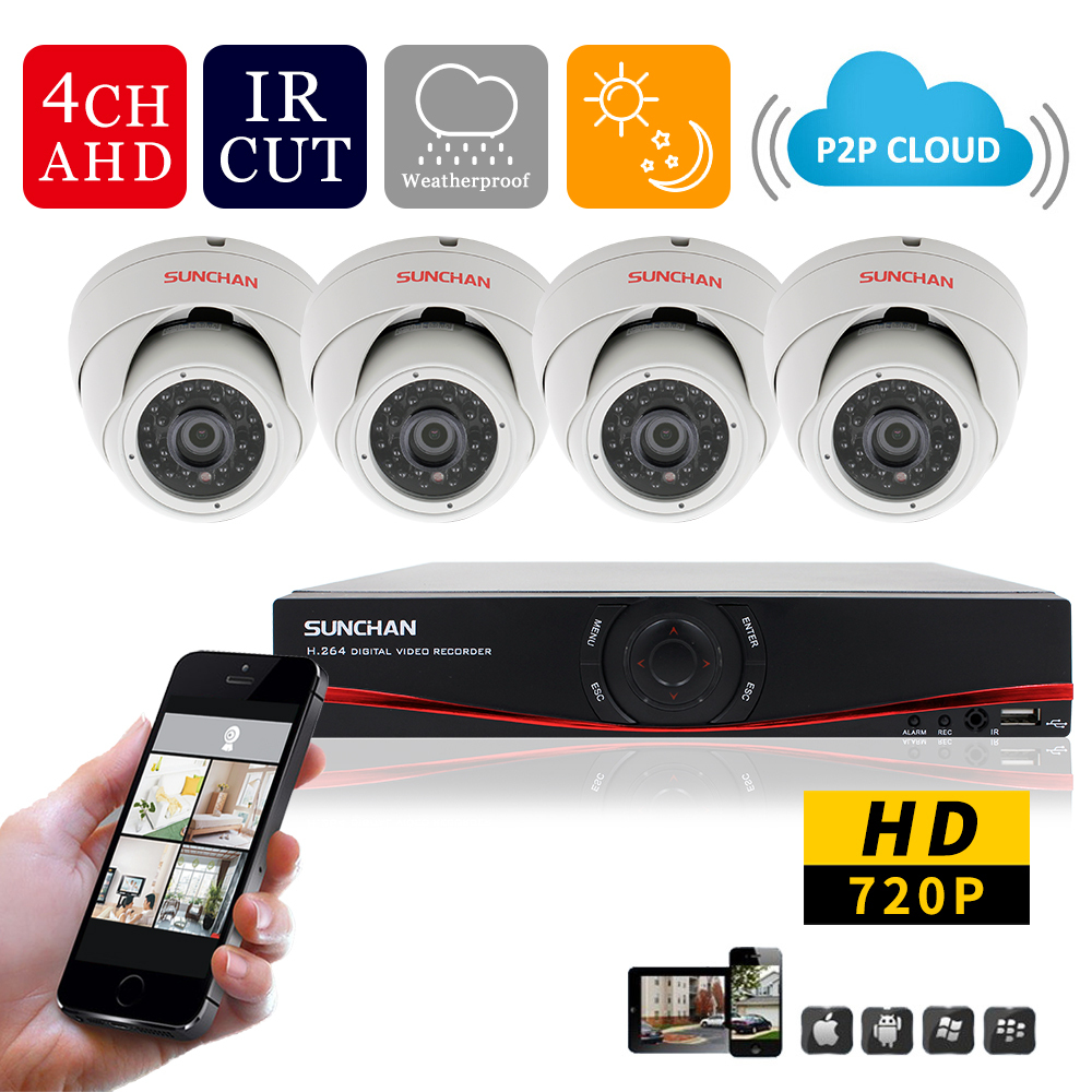 SUNCHAN HD 720P 1 0MP HDMI CCTV System 4CH 720P AHD DVR Kit 1280 720P Indoor