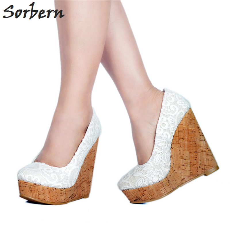 Sorbern White Lace Women Wedge High Heel Pumps Platform Shoes Ladies Pumps Women Shoes Slip On Platform Heels Wedding Shoes efbaba leather velvet women pumps wedge wedding shoes womens heels shallow fashion platform shoes tide wild ladies high heels