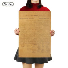 TIE LER The United States Declaration of Independence Retro Vintage Poster Adornment Movie Poster Wall Sticker(China)