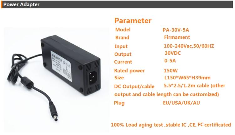 30VDC carregador, 150 w 30 v 5A