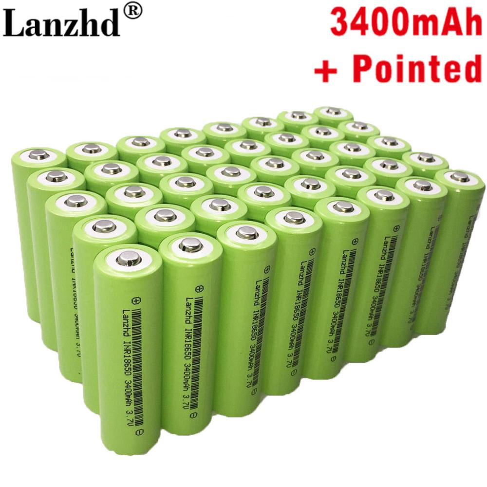 40PCS New 18650 lithium battery 3.7V 3400mAh  for samsung INR18650 flashlight rechargeable with pointing