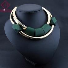 Винтажная Подвеска из деревянных бусин, оригинальное ожерелье для женщин, модное зеленое черное колье Kpop Big Name Bijoux Femme, американские ювелирные изделия