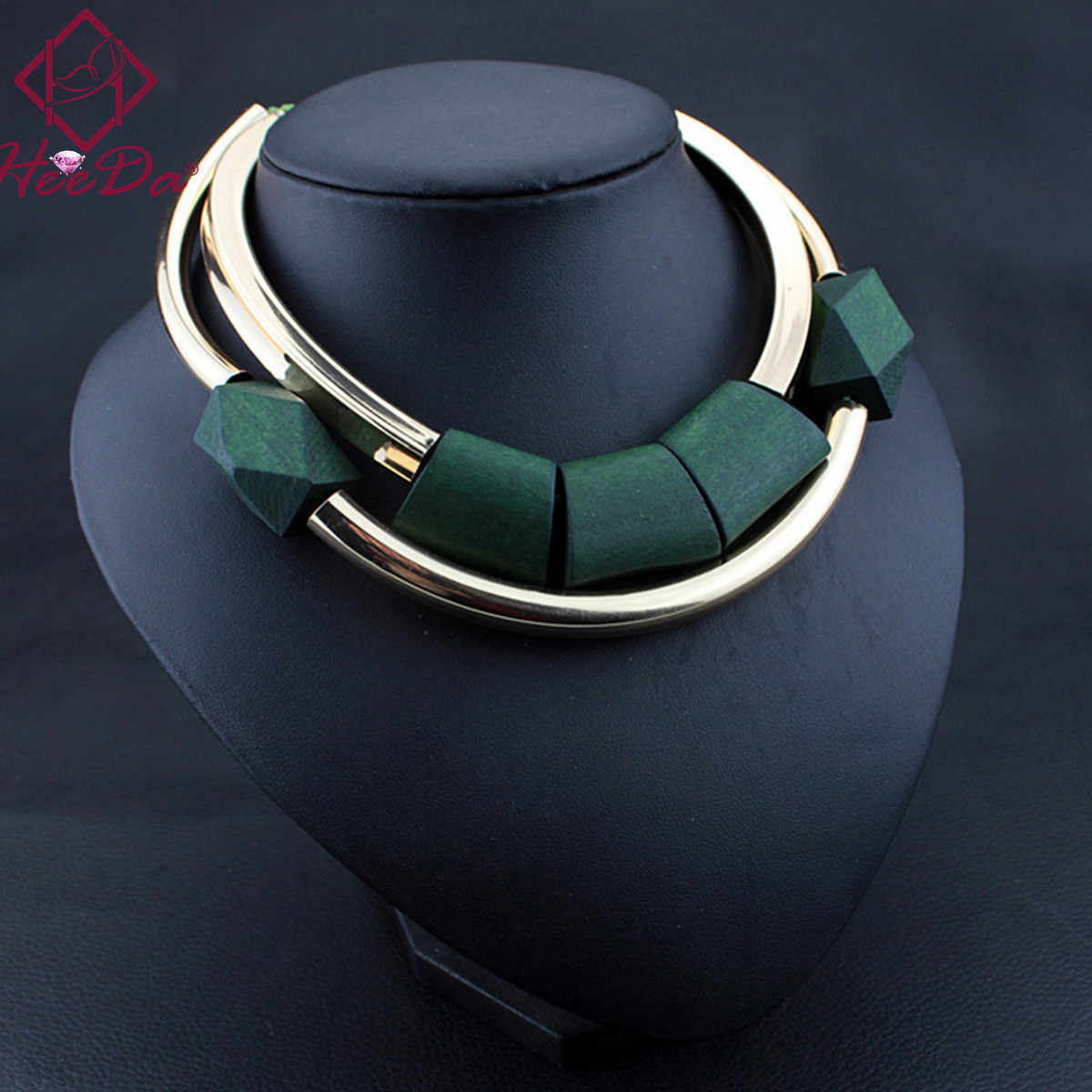 Vintage Wood Beads Pendant Initial Necklace for Women Fashion Green Black Choker Kpop Big Name Bijoux Femme American jewelry