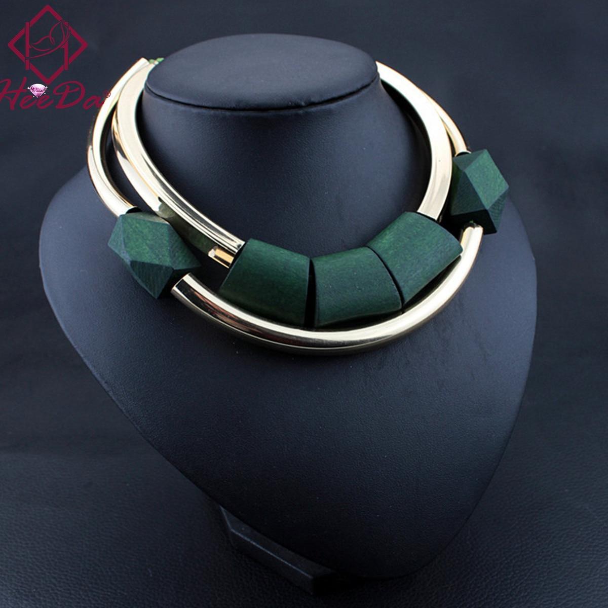Cuentas de madera de la vendimia colgante collar inicial para mujeres Moda Verde Negro gargantilla Kpop Big Nme Bijoux Femme 2018 Venta caliente regalo