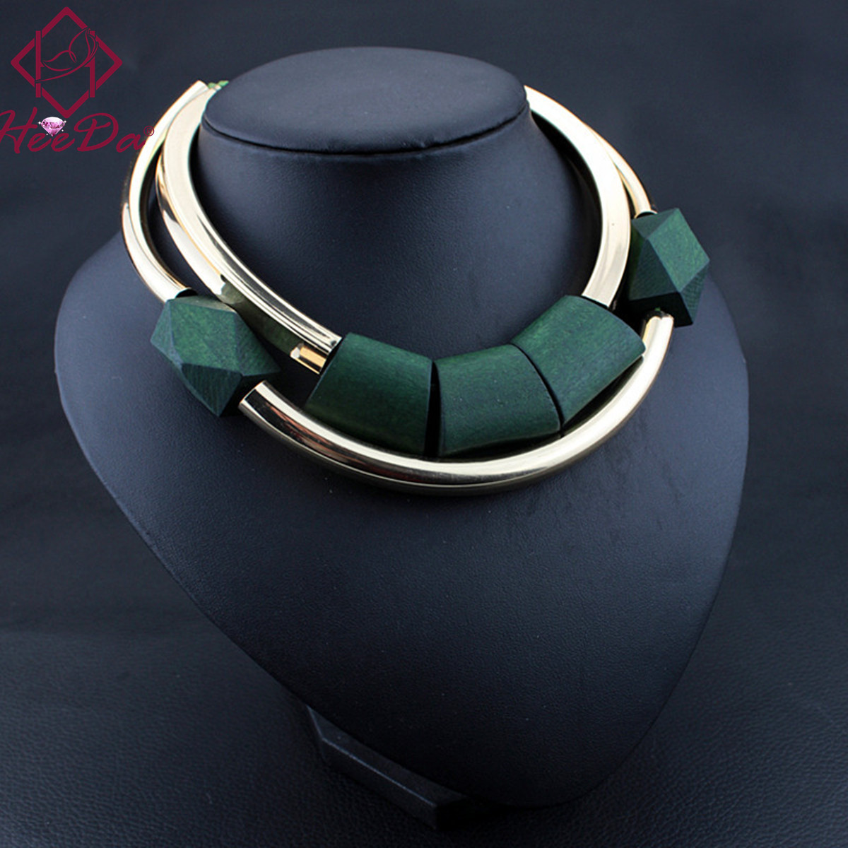 Vintage Wood Beads Pendant Initial Necklace For Women Fashion Green Black Choker Kpop Big Nme Bijoux Femme 2018 Mothers Day Gift