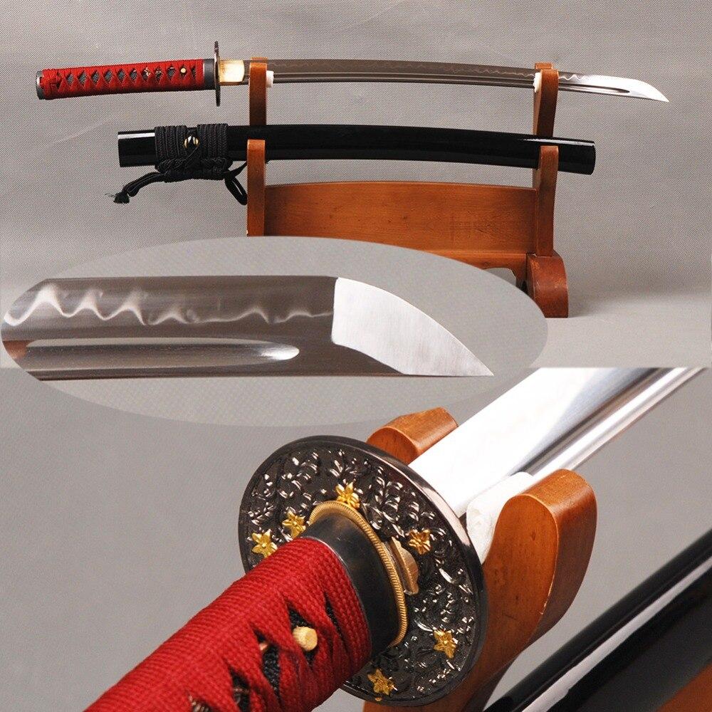 Forgés à la main Wakizashi Japonais épée de samouraï Pleine Saveur T8 Acier Argile Trempé Lame Tranchante Vintage Métal décoration d'intérieur