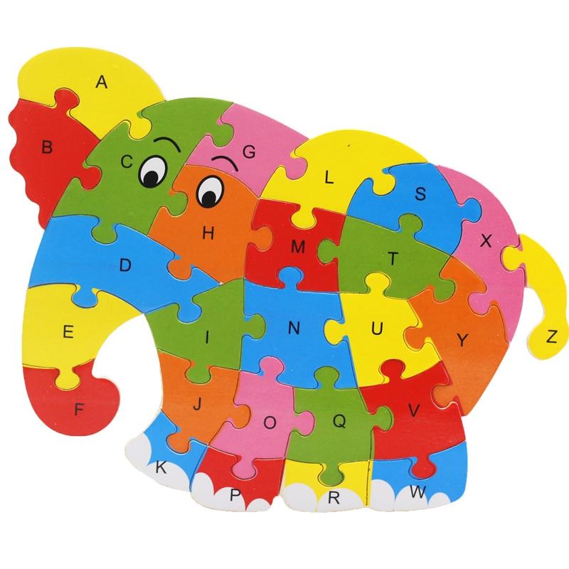 Wooden Animal Elephant Dinosaur ABC Alphabet Learning 3D Puzzles Jigsaw Intelligence Games Toys For Children Kids finedesign 3d dinosaur
