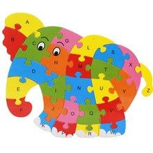 Animais de madeira elefante dinossauro abc alfabeto aprendizagem quebra-cabeças jogos de inteligência brinquedos para crianças