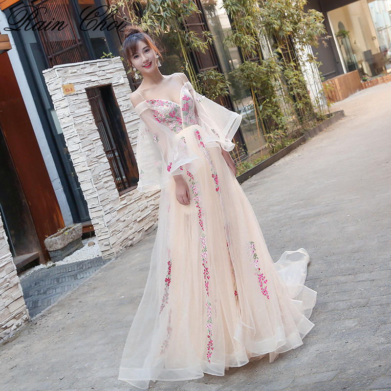 2019   Evening     Dresses   Long Boat Neck Cap Sleeves Floral Formal Party Gowns New Elegant   Evening     Dress   Plus Size