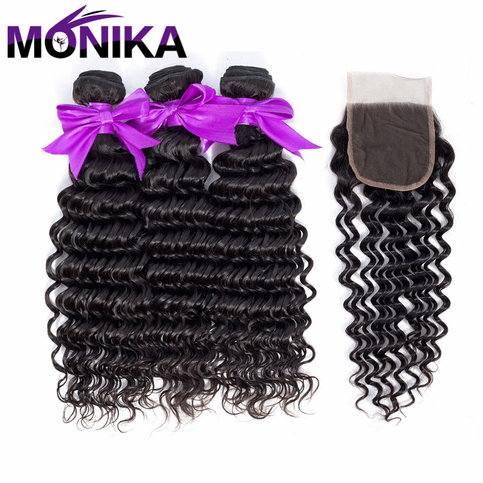 Monika Hair Pre-colored Human Hair Bundles With Closure Deep Wave Brazilian Hair Weave Bundles Non Remy 3 Bundles With Closure
