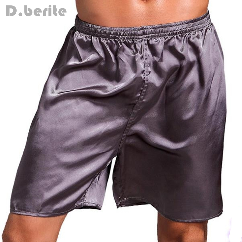 Men's Sleepwear Casual Loose Summer Soft Underwear Silk Satin Boxers Shorts Nightwear Pyjamas L XL XXL YLM9290