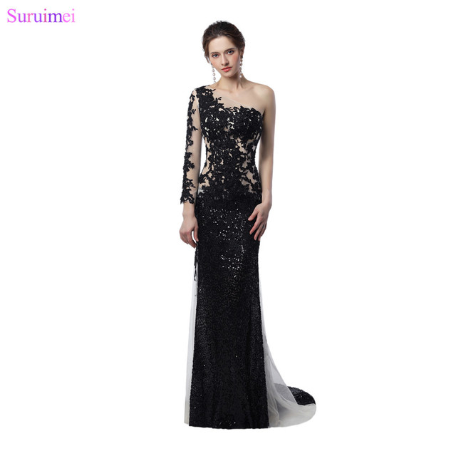 17ac3a3b5917 Sheer Illusion Long Mermaid Prom Dresses White And Black Sequines Applique  Long Sleeves Celebrity Prom Dress Women Gown
